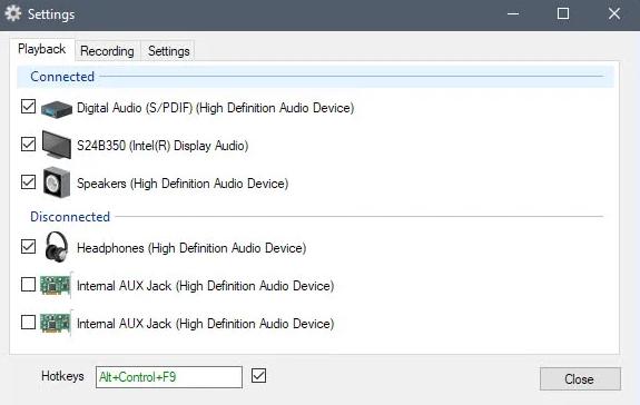 使用热键在Windows上切换声音设备