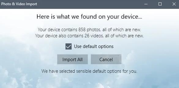 Windows 10的照片和视频导入