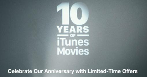 Apple以10美元的价格提供10部电影套装以庆祝iTunes电影成立10周年