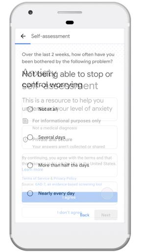 谷歌在搜索中加入了焦虑自我评估